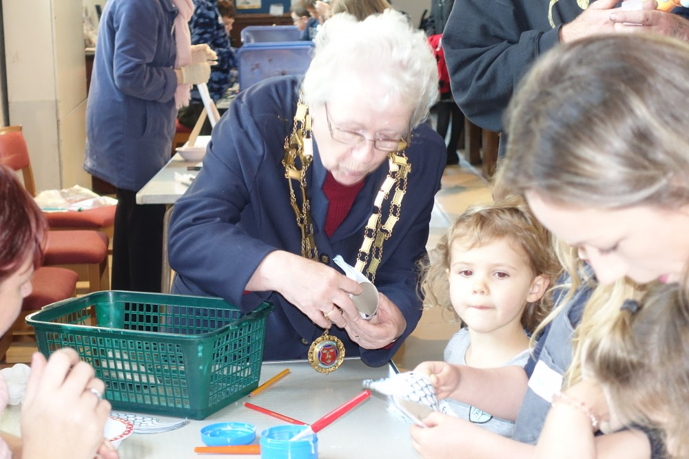 Mayor of Dereham Hilary Bushell joins in the Messy Church at St Nicholas